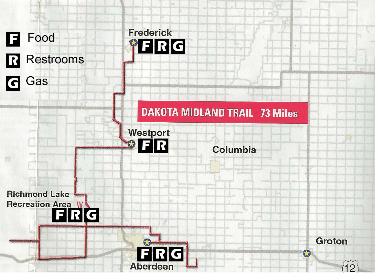 Dakota Midland Snowmobile Trail Map 2012